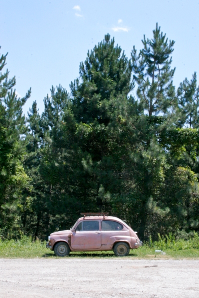 Pink Car on the Roadside.