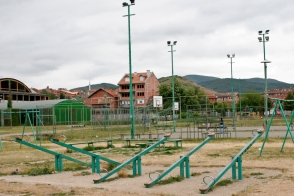 Empty park in Novi Pazar.
