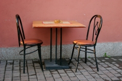 Three legged chair at a cafe in Novi Pazar.