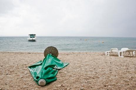 A fallen umbrella at the Adriatic Sea.
