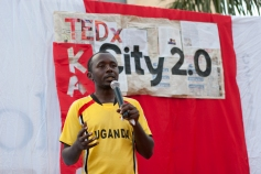 Ruganzu Bruno speaks about his efforts at a locally organized TEDx conference.